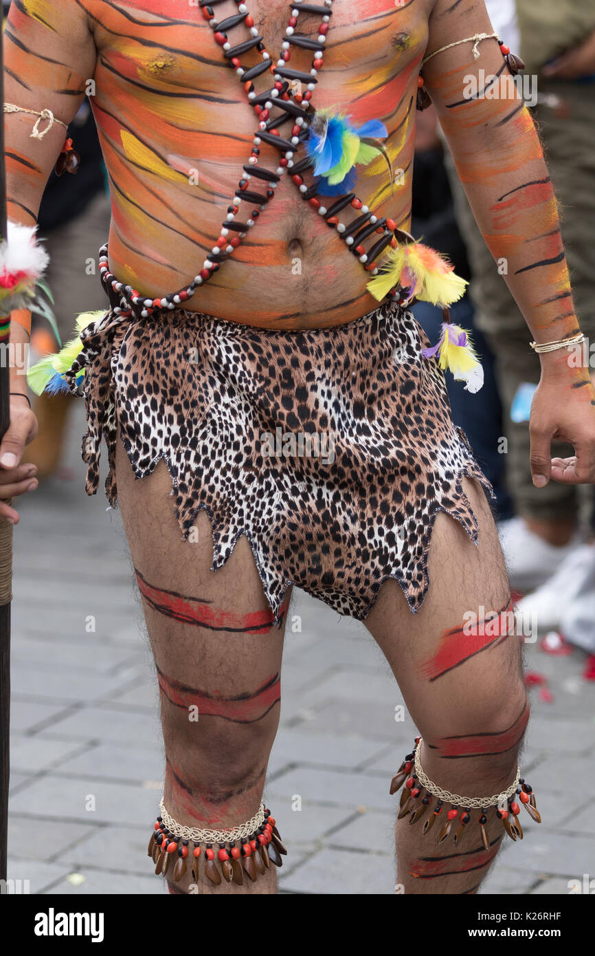 June 17, 2017 Pujili, Ecuador: man with lower body costume details at the annual parade of Corpus Christi in the high altitude town - Stock Image