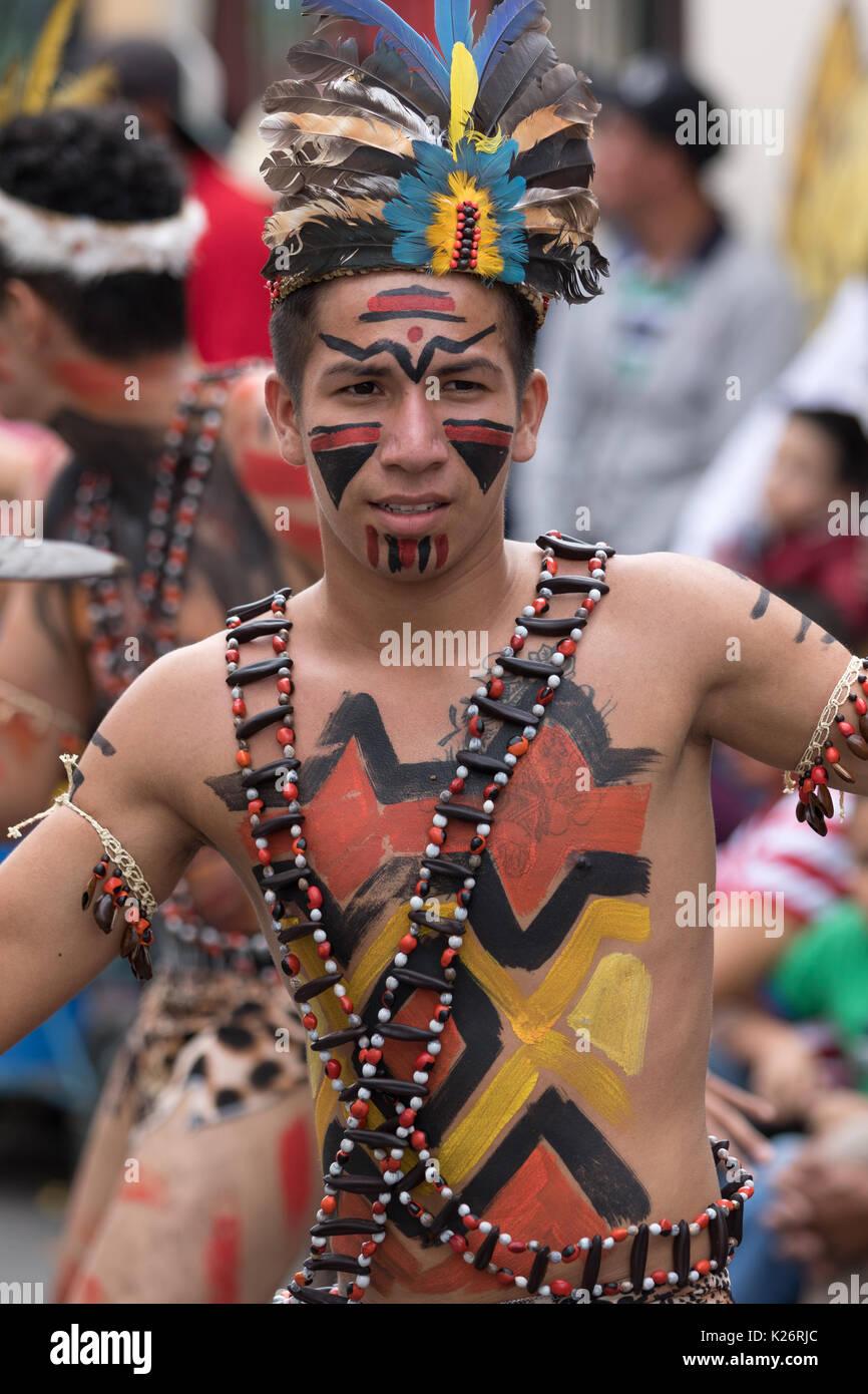June 17, 2017 Pujili, Ecuador: closeup of a male dancer from he Amazon area at the Corpus Christi annual parade - Stock Image