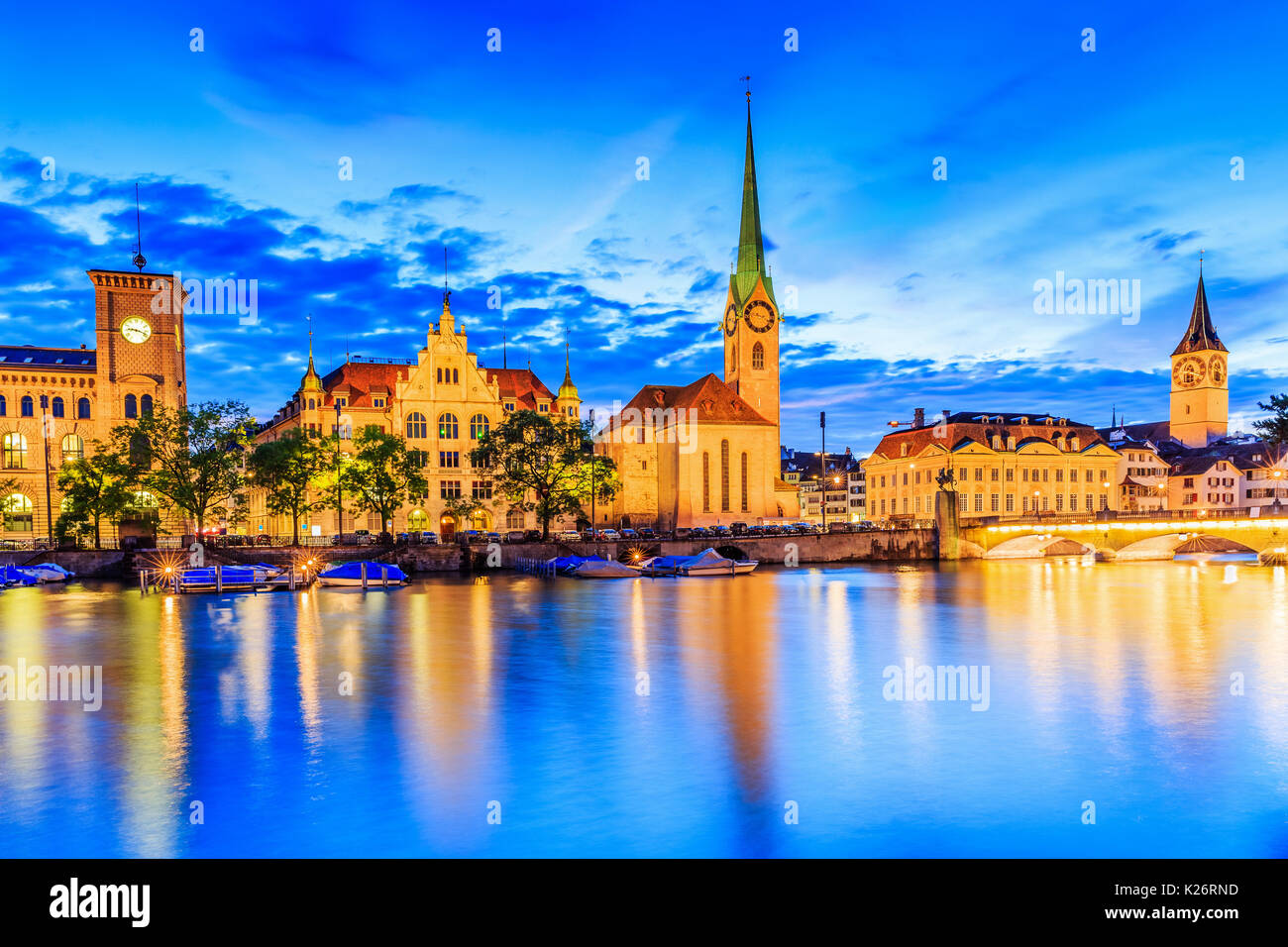 Zurich, Switzerland. View of the historic city center with famous Fraumunster Church, on the Limmat river. Stock Photo