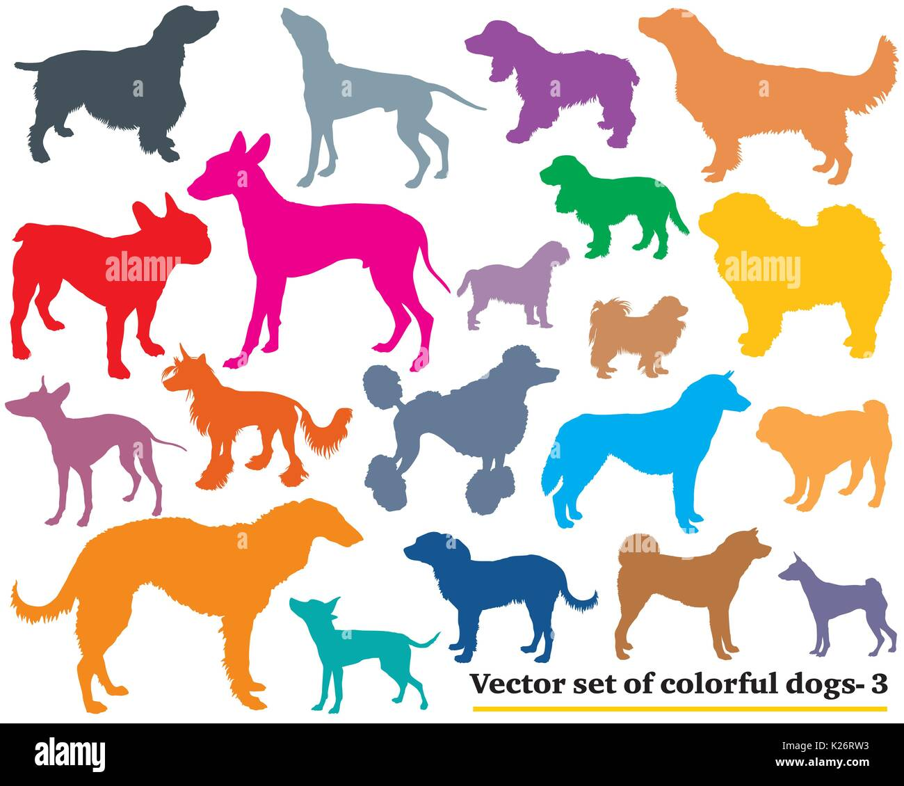 Vector set of colorful isolated different breeds dogs silhouettes on white background. Part 3 - Stock Vector