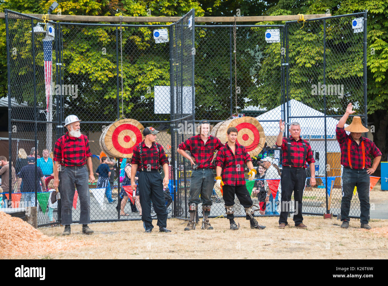 Timber Cutters Lumberjack Skills Demonstration Evergreen State Fair Monroe Washington - Stock Image