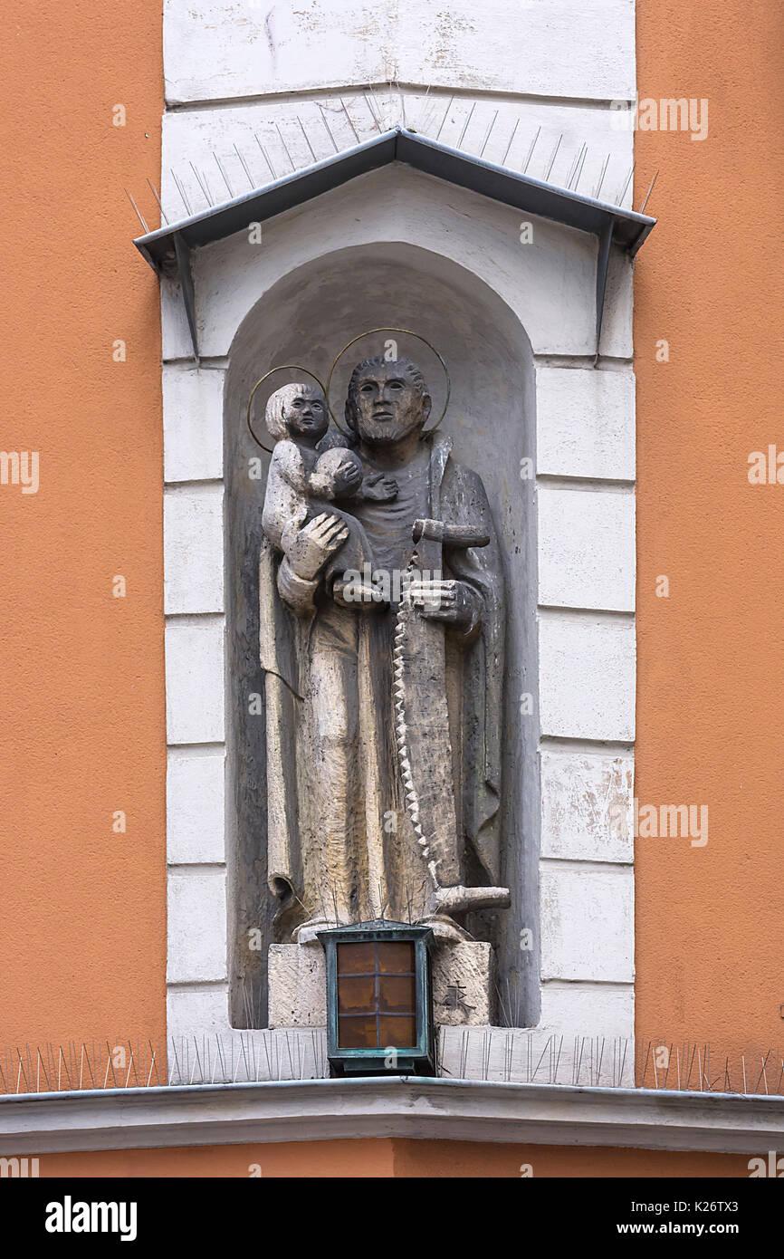 Martyr, Saint Thyrsos with aw, Regensburg, Upper Palatinate, Bavaria, Germany Stock Photo
