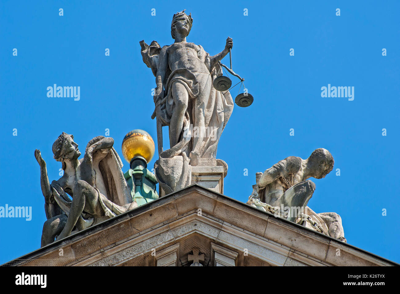 Gable with figure Justitia, figures of Innocence and vice of Balthasar Schmitt, Justice Palace, Munich, Upper Bavaria, Bavaria - Stock Image