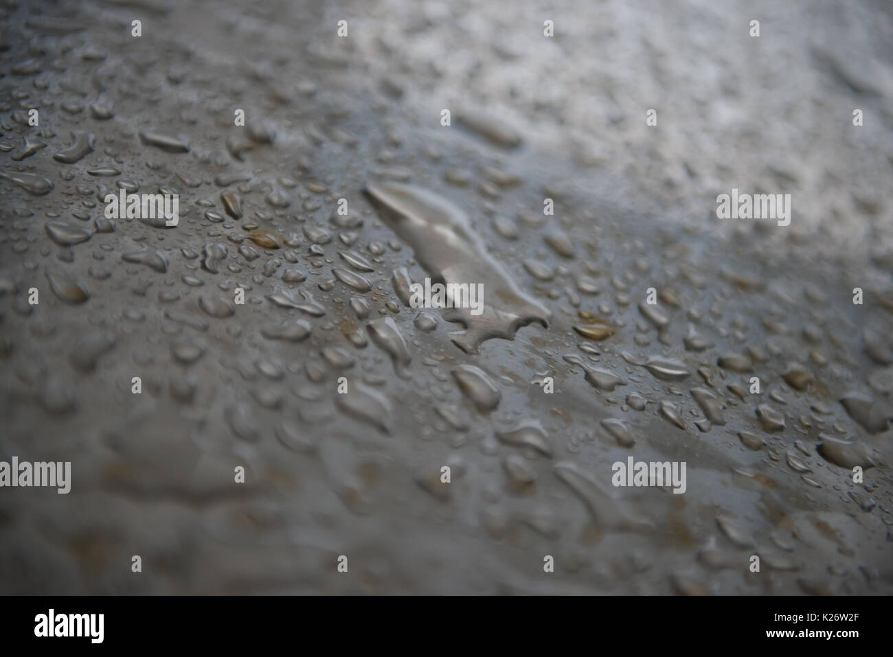 Raindrops on Metal - Stock Image