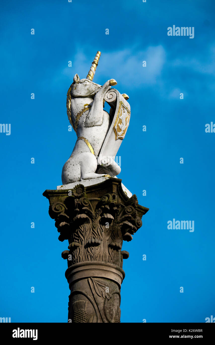 Column with unicorn, national symbol of Scotland, Aberdeen, Scotland, United Kingdom - Stock Image