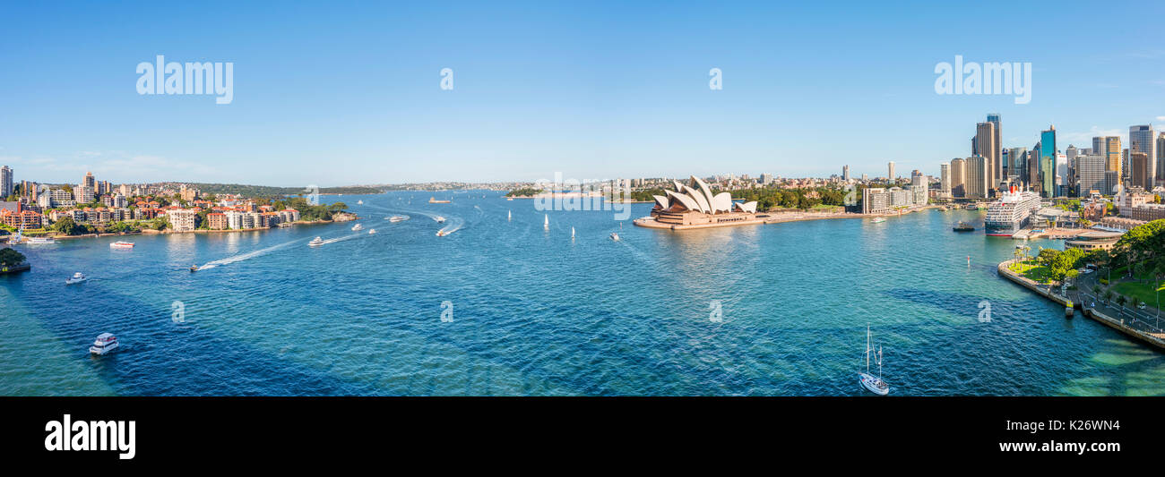 Circular Quay and The Rocks, skyline with Sydney Opera House, Financial District, banking district, Sydney, New South Wales - Stock Image
