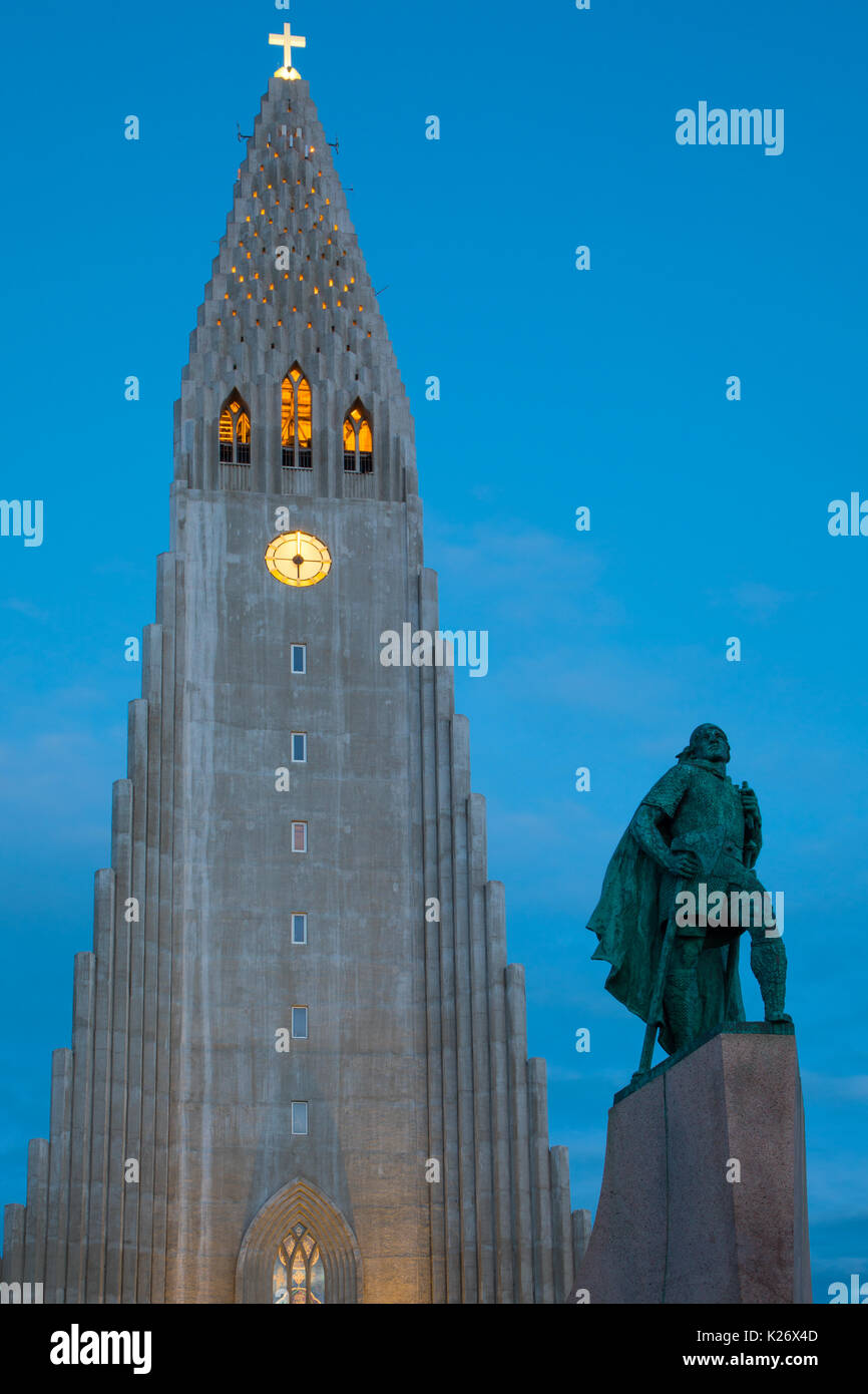 Hallgrímskirkja is a Lutheran (Church of Iceland) parish church in Reykjavík, Iceland. - Stock Image