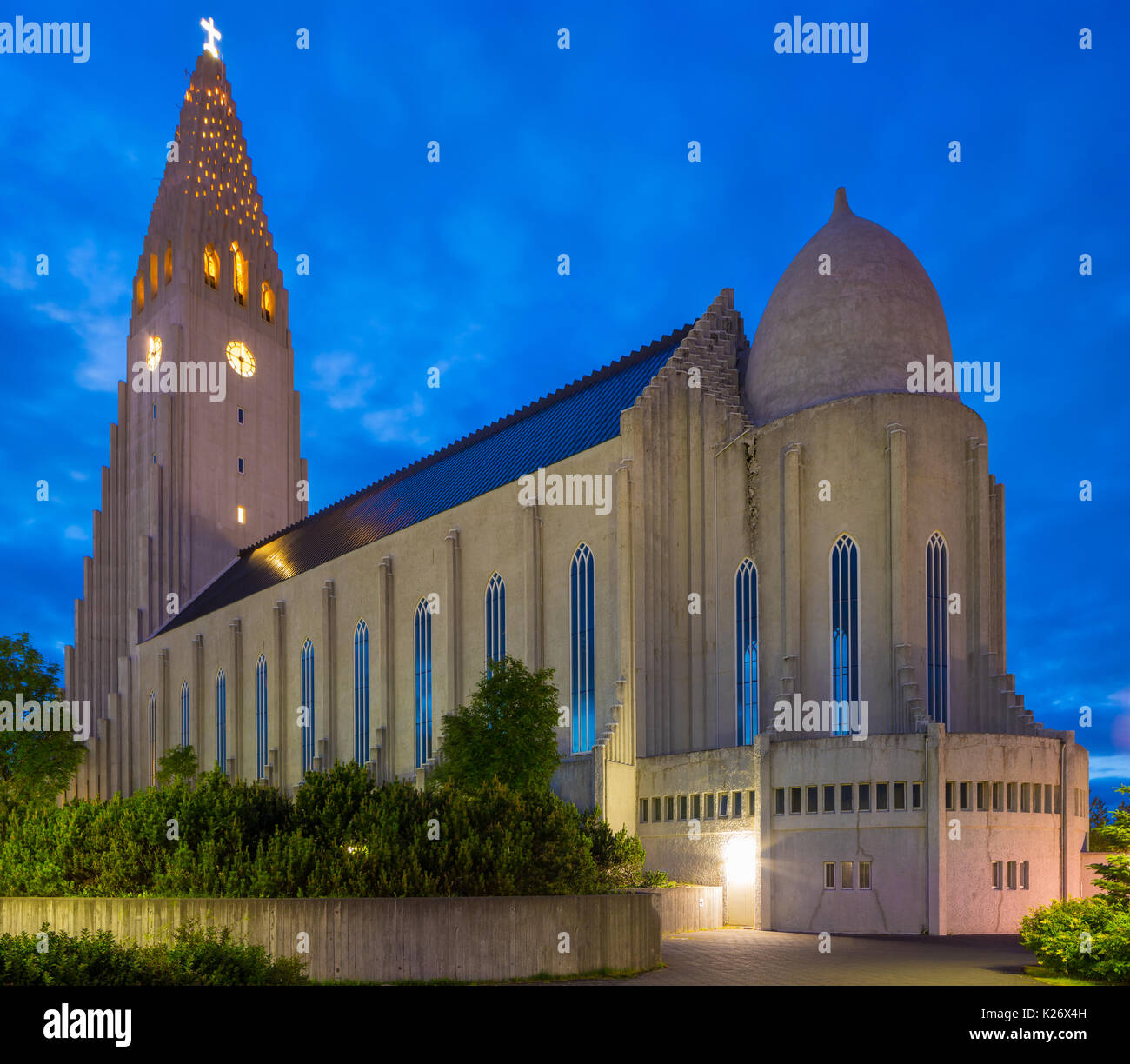 Hallgrímskirkja is a Lutheran (Church of Iceland) parish church in Reykjavík, Iceland. At 74.5 metres (244 ft) high, it is the largest church in Icela - Stock Image