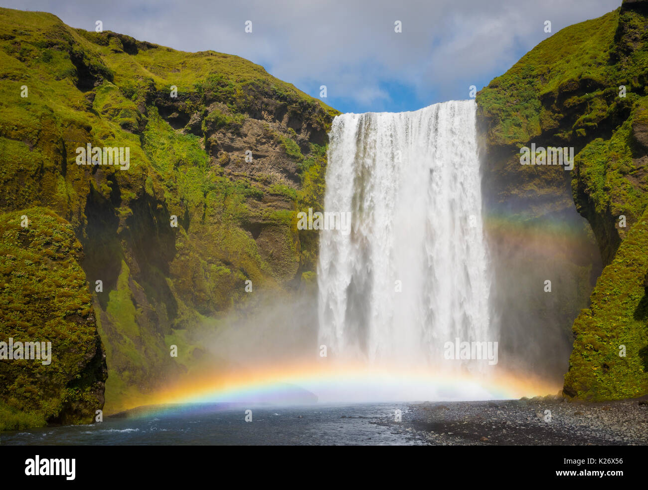 Skogafoss waterfall in the Southern Region of Iceland - Stock Image