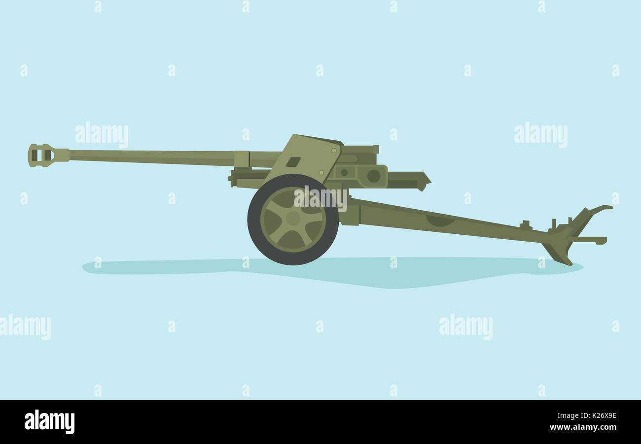 german anti tank ww2 with flat style and green color - Stock Vector
