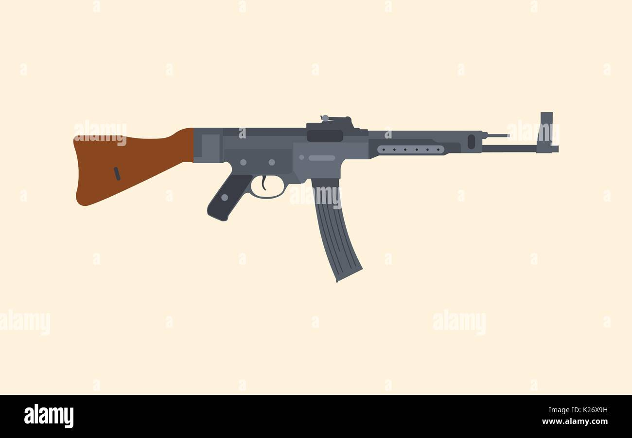 a german riffle machine gun popular in ww2 - Stock Vector