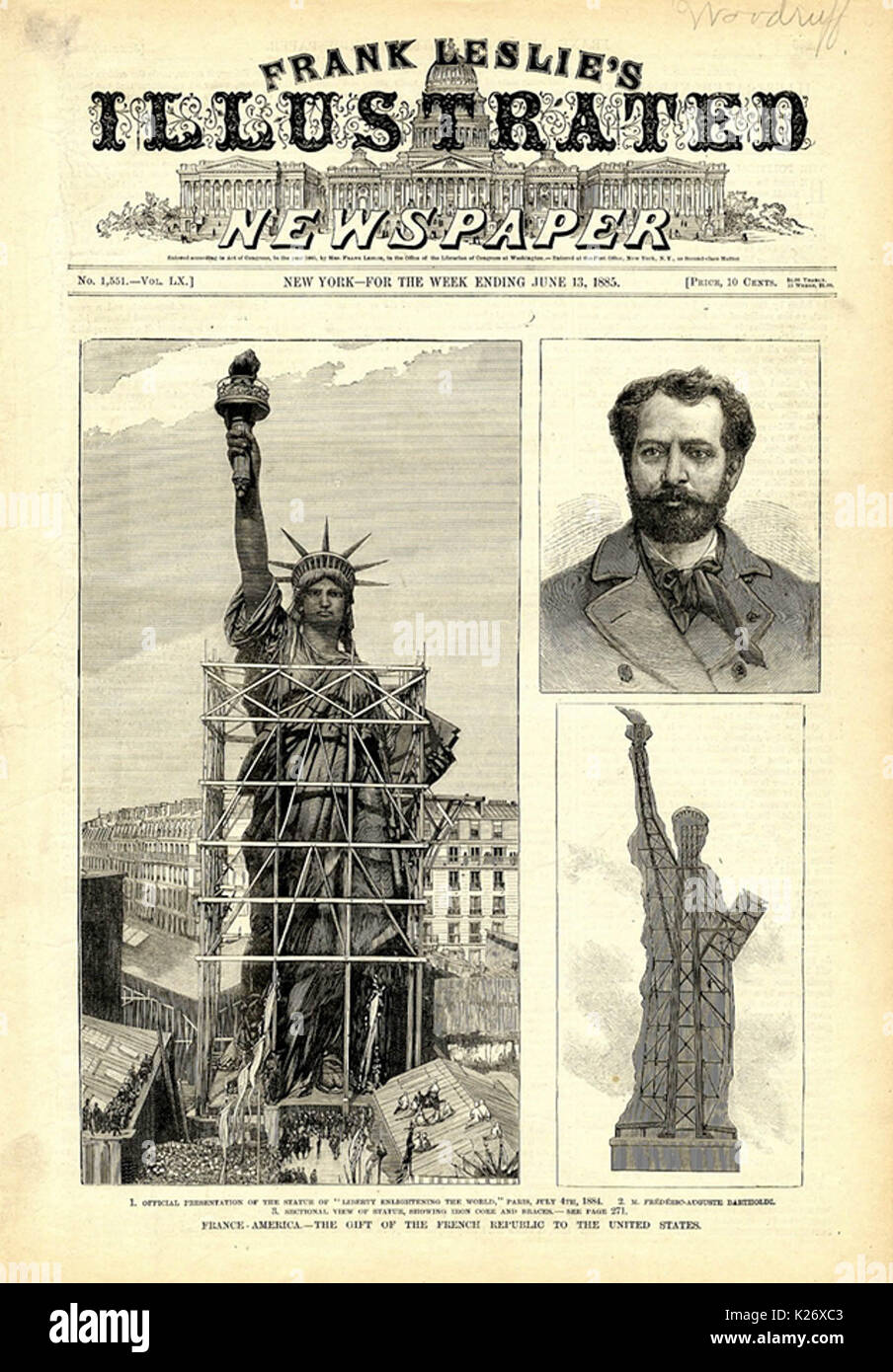 Frank Leslie's Illustrated Newspaper, June 1885, showing (clockwise from left) woodcuts of the completed statue in Paris, Bartholdi, and the statue's interior structure - Stock Image