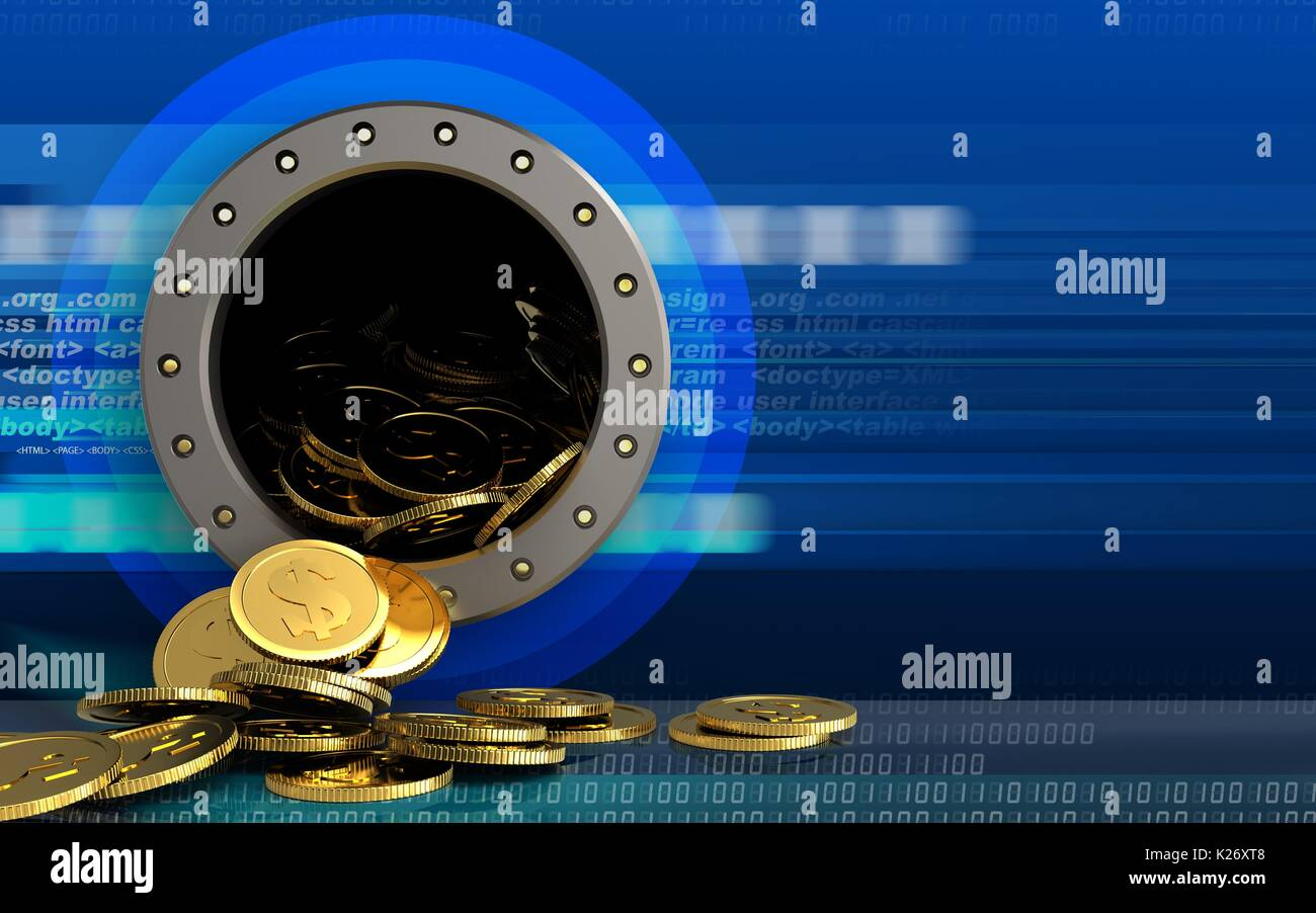 3d illustration of dollar coins storage over cyber