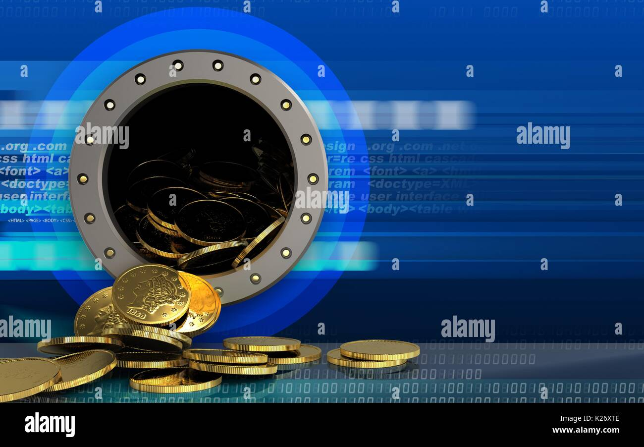 3d illustration of coins storage over cyber background Stock