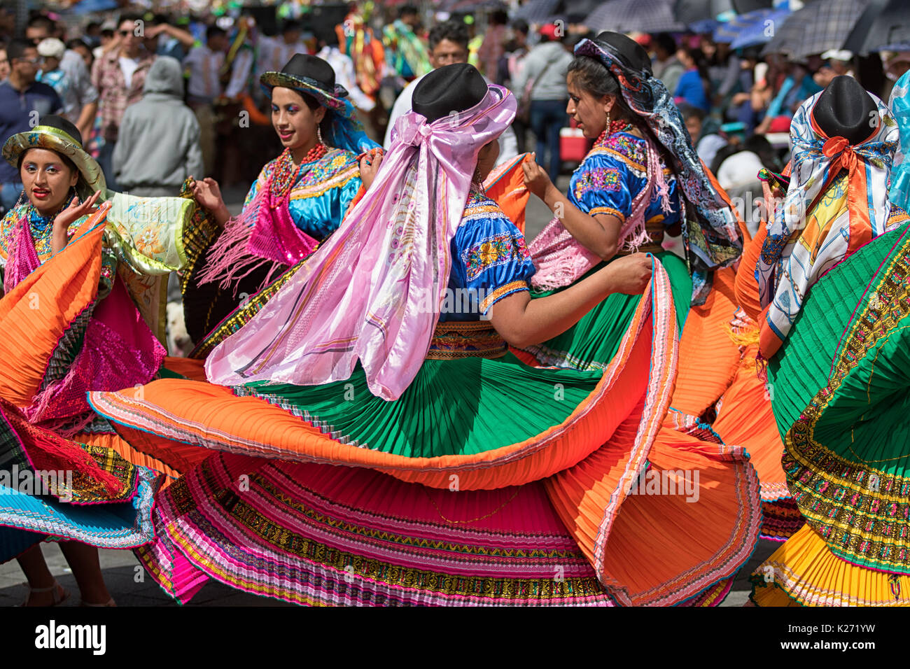 June 17, 2017 Pujili, Ecuador:traditional female dress details worn at the Corpus Christi annual parade - Stock Image