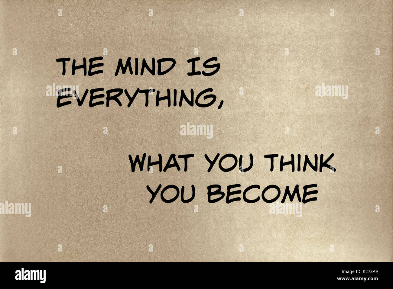 A phrase by Budda: The mind is everything, what you think you become.    Graphic Design. - Stock Image