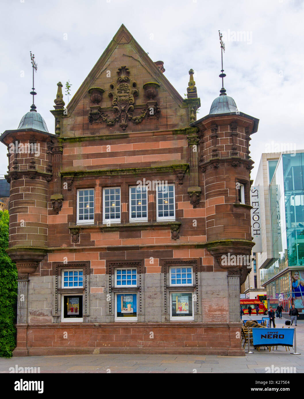 Elegant historic building, now a cafe, formerly entrance to St Enoch subway station in city of Glasgow, Scotland - Stock Image