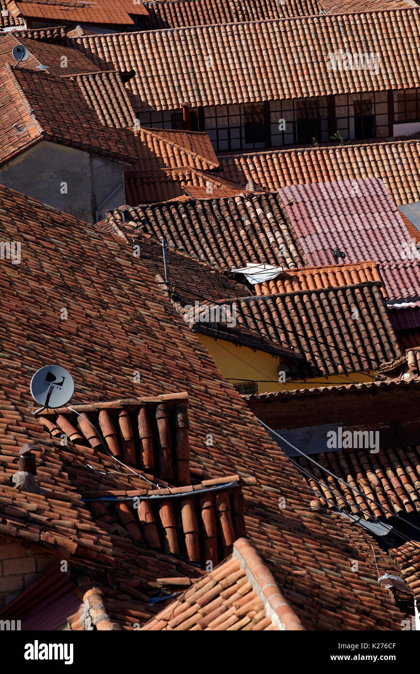 Terracotta tiled roofs, Cusco (World Heritage Site), Peru, South America - Stock Image