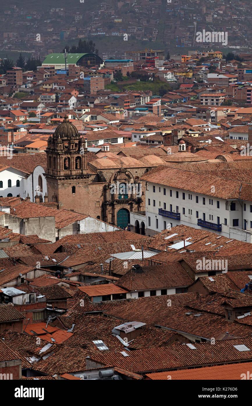La Merced and terracotta tiled roofs, Cusco, Peru, South America - Stock Image