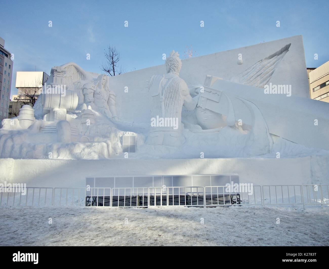 Snow Sculpture at the 2017 Sapporo Snow Festival, Odori Park, Hokkaido, Japan - Stock Image