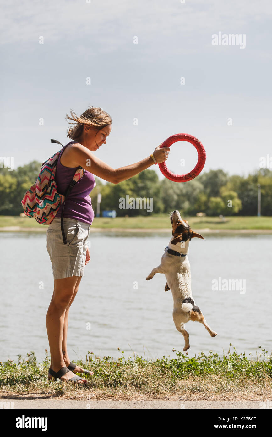 Woman playing with dog on nature - Stock Image