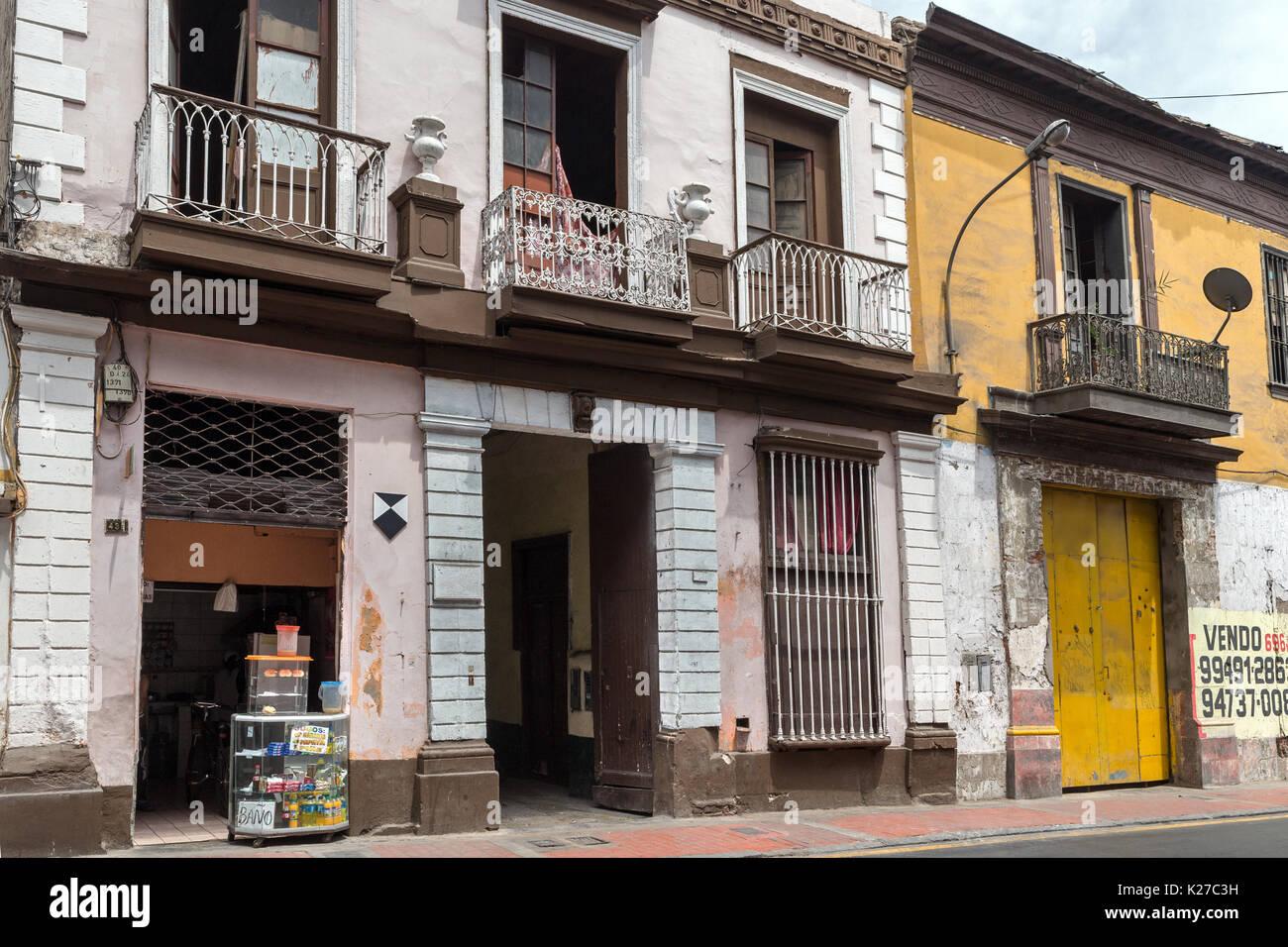Old buildings Lima Peru - Stock Image