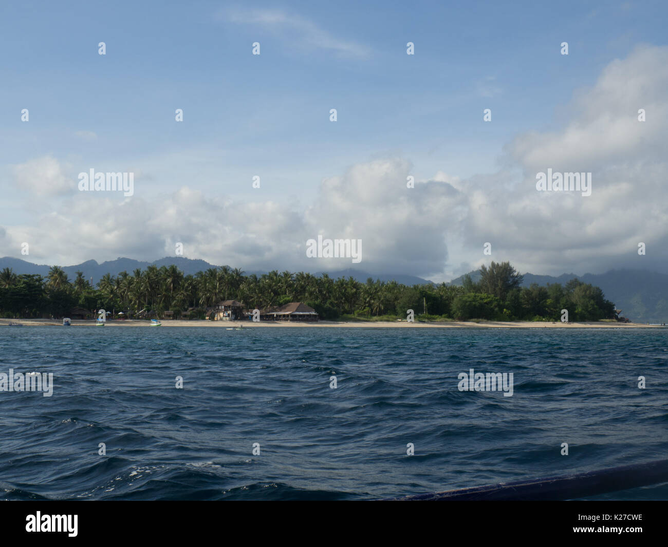 Gili Air from the sea - Stock Image