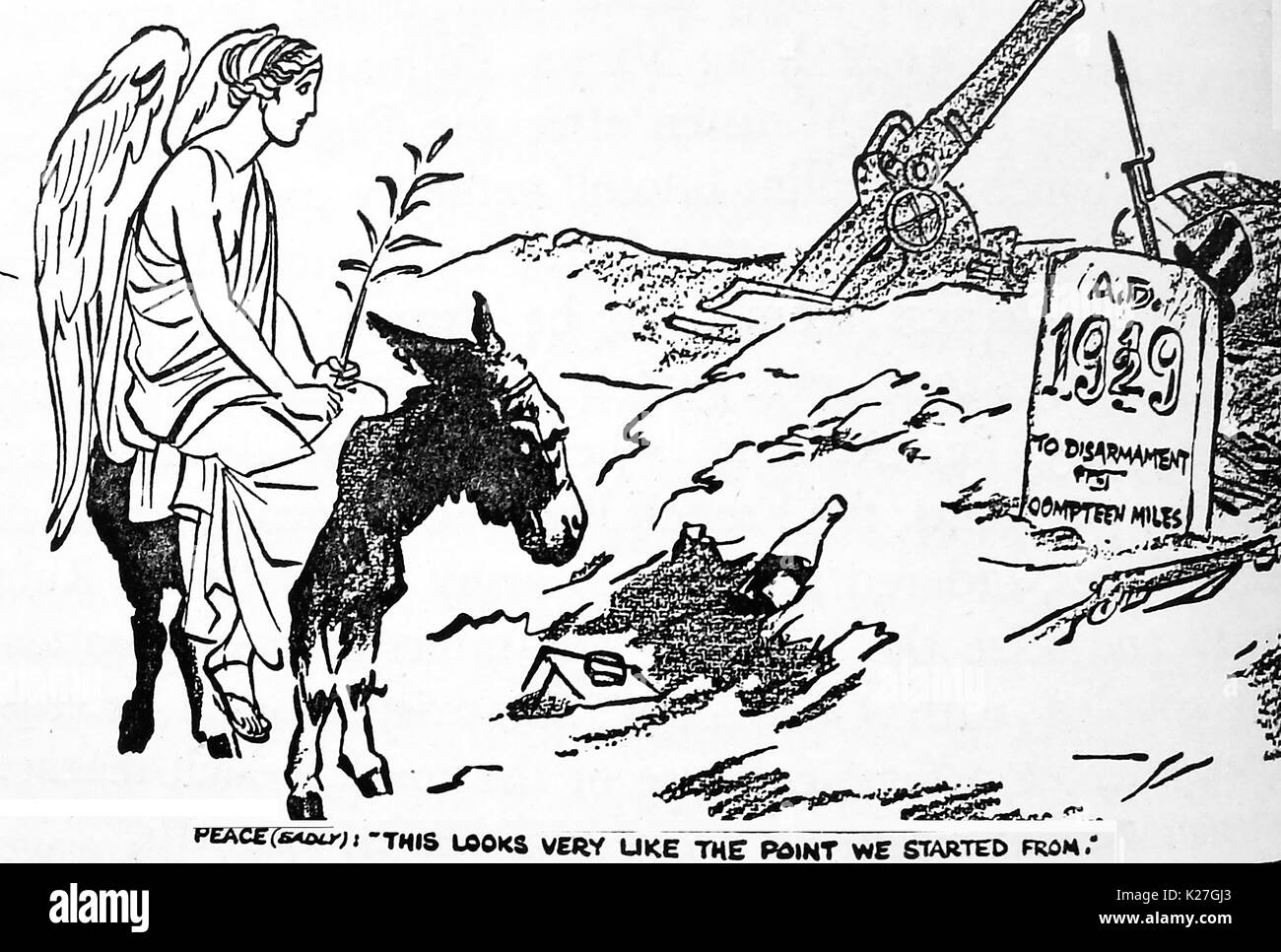 1929 - Political cartoon reflecting the deja-vu element of disarmament talks, showing the figure of peace on a donkey - Stock Image