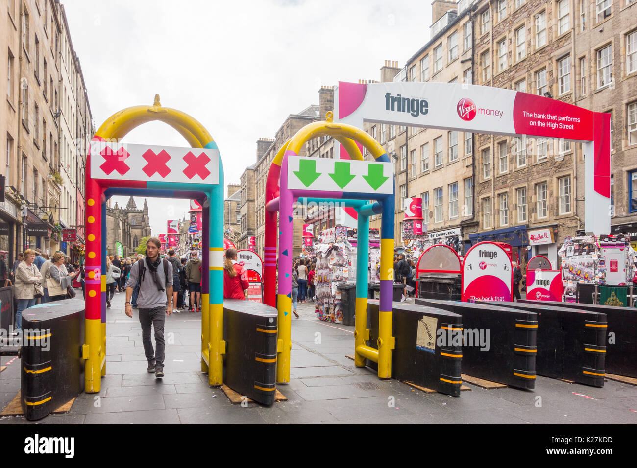 Anti-terrorism high security barriers at the Edinburgh Fringe Festival 2017 - Stock Image