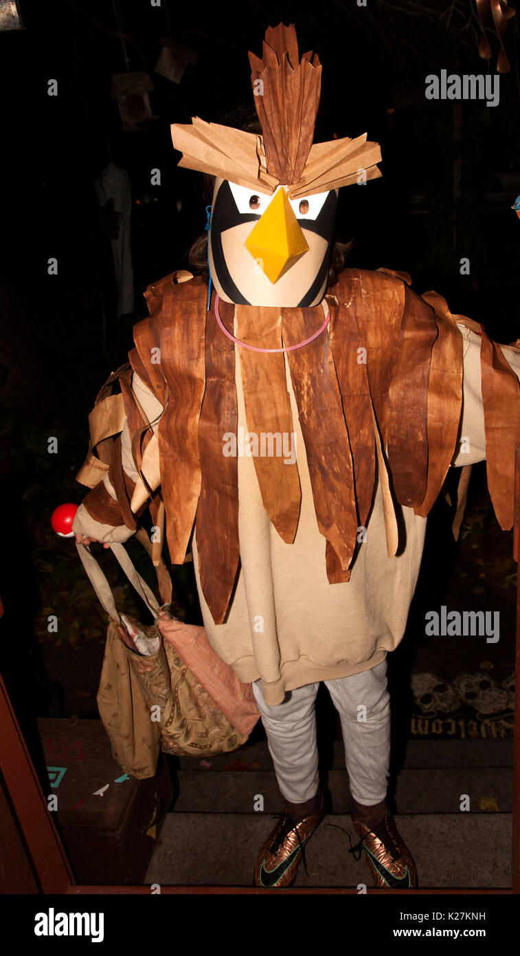 Delighted big chicken out for a night of Halloween trick or treating St Paul Minnesota MN USA - Stock Image