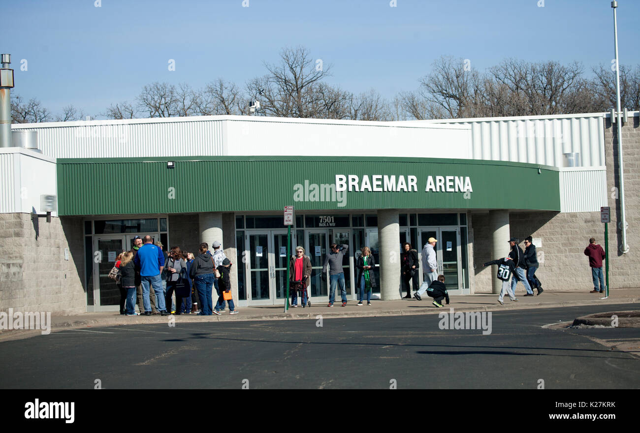 Fans lingering outside Braemar Hockey Arena Edina Minnesota MN USA - Stock Image