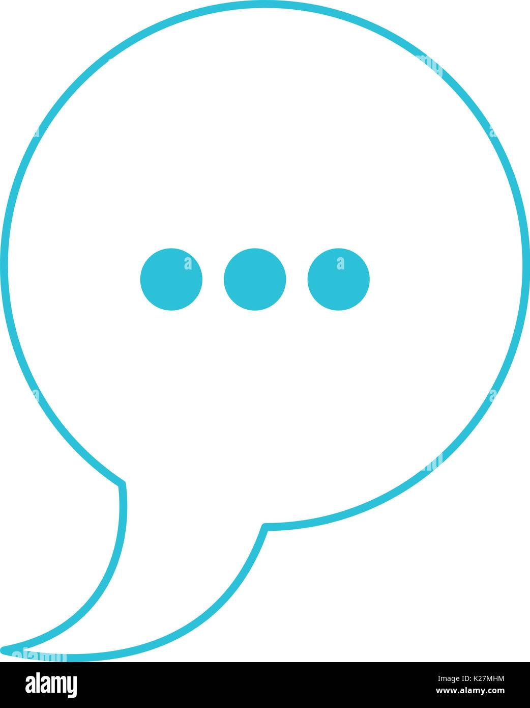 Blue Color Silhouette Of Speech Circle With Tail And Symbol Of Stock
