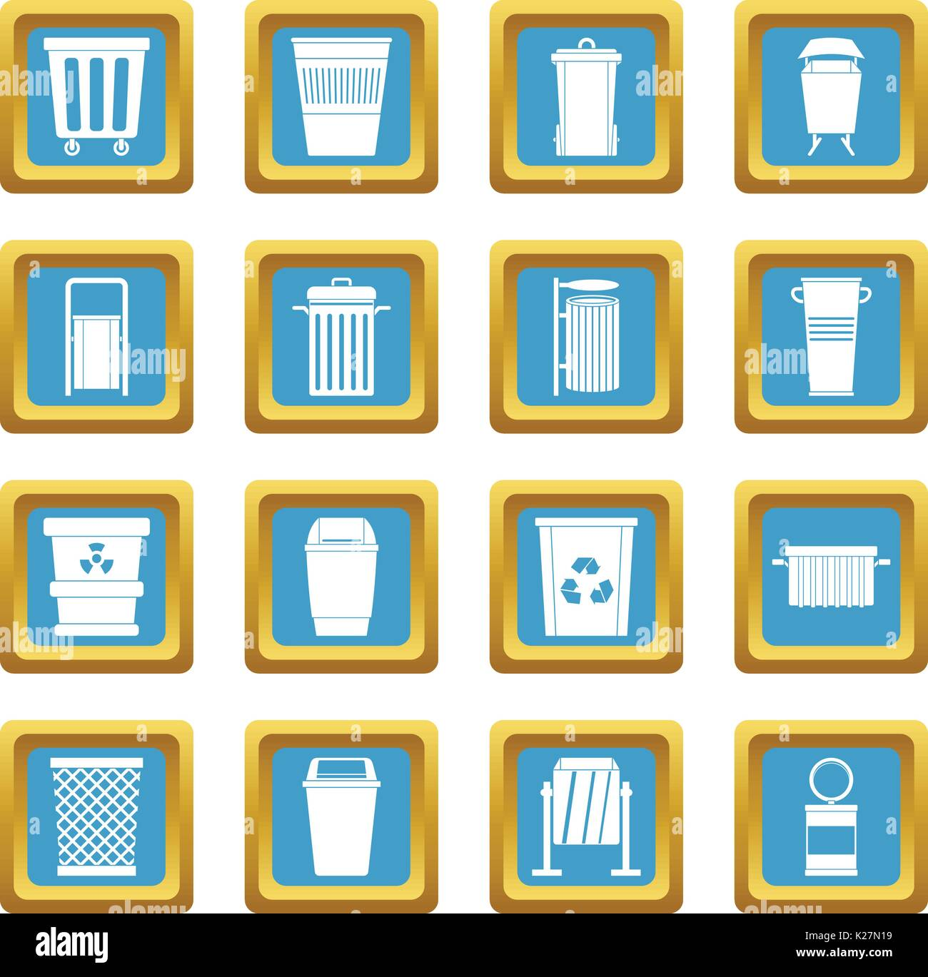 Garbage container icons azure - Stock Vector