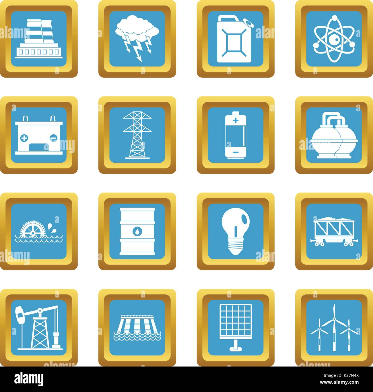 Energy sources items icons azure - Stock Image