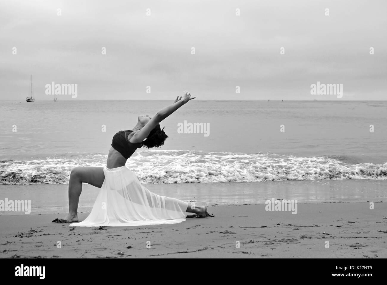 Lyrical dancer at beach Stock Photo