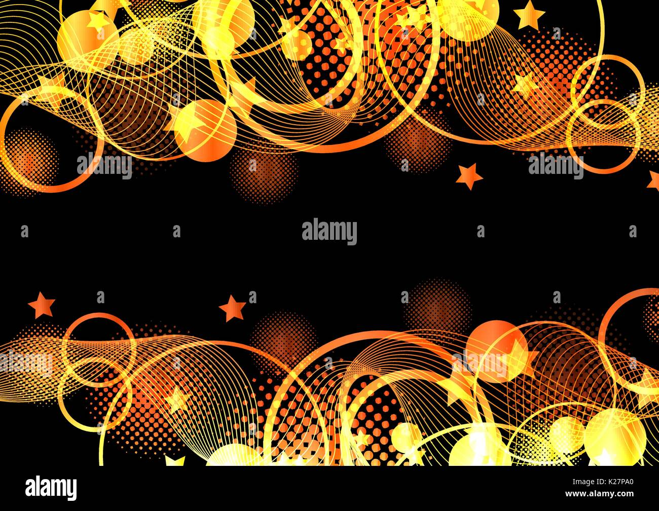 Orange and black abstract vector background - Stock Image