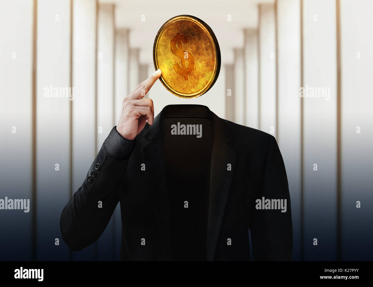 Businessman with Money Head, Thinking for Success or Profit in Business, Finger on Golden Coin, Photo Manipulation - Stock Image