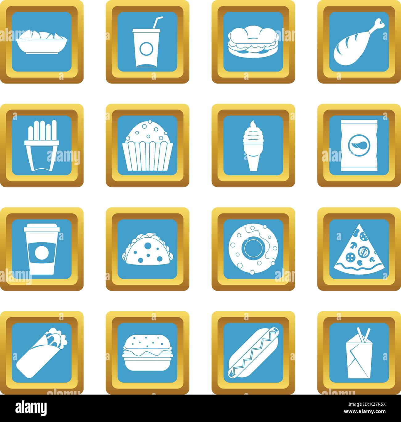 Fast food icons azure - Stock Vector