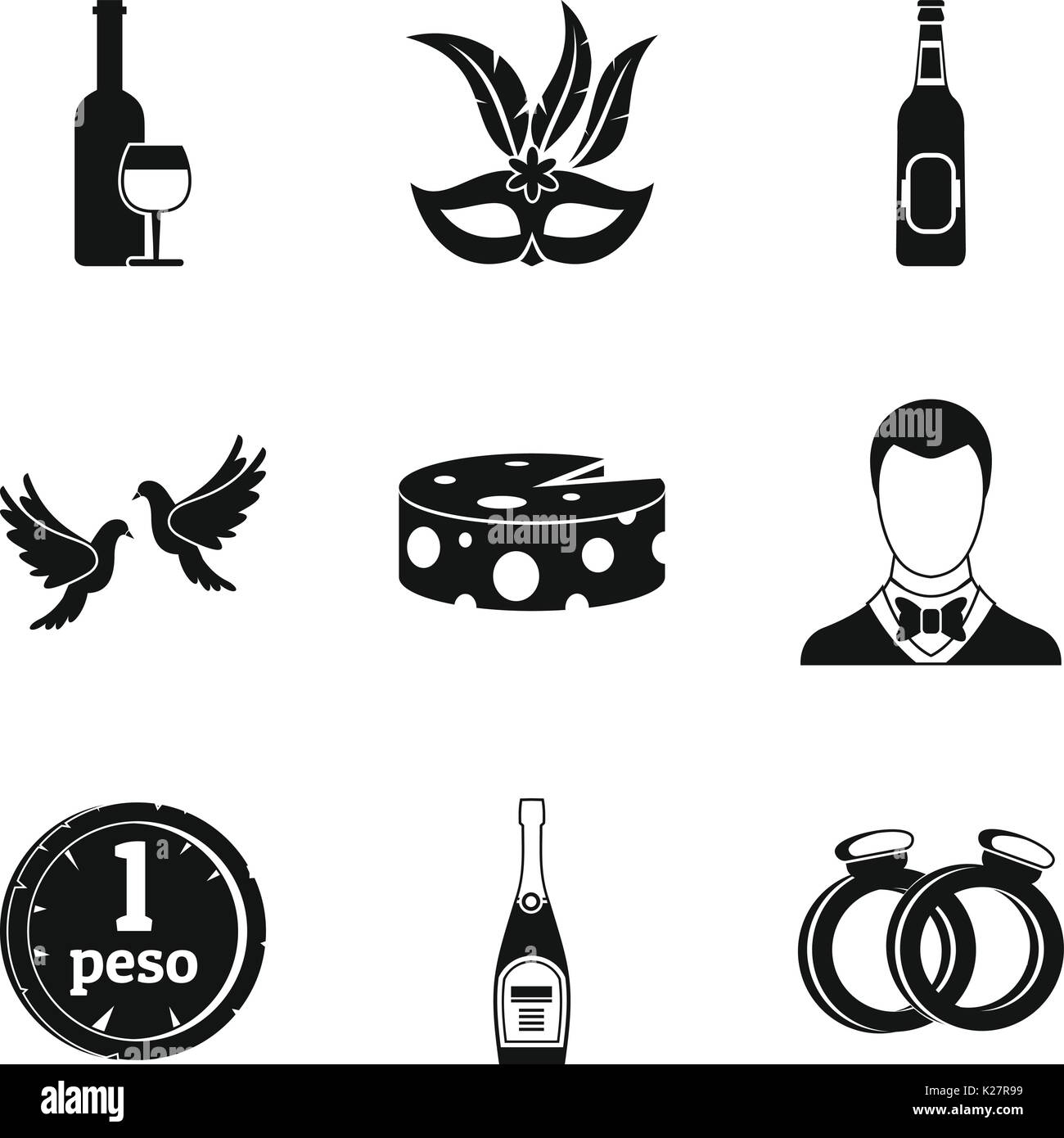 Fizzy drink icons set, simple style - Stock Image