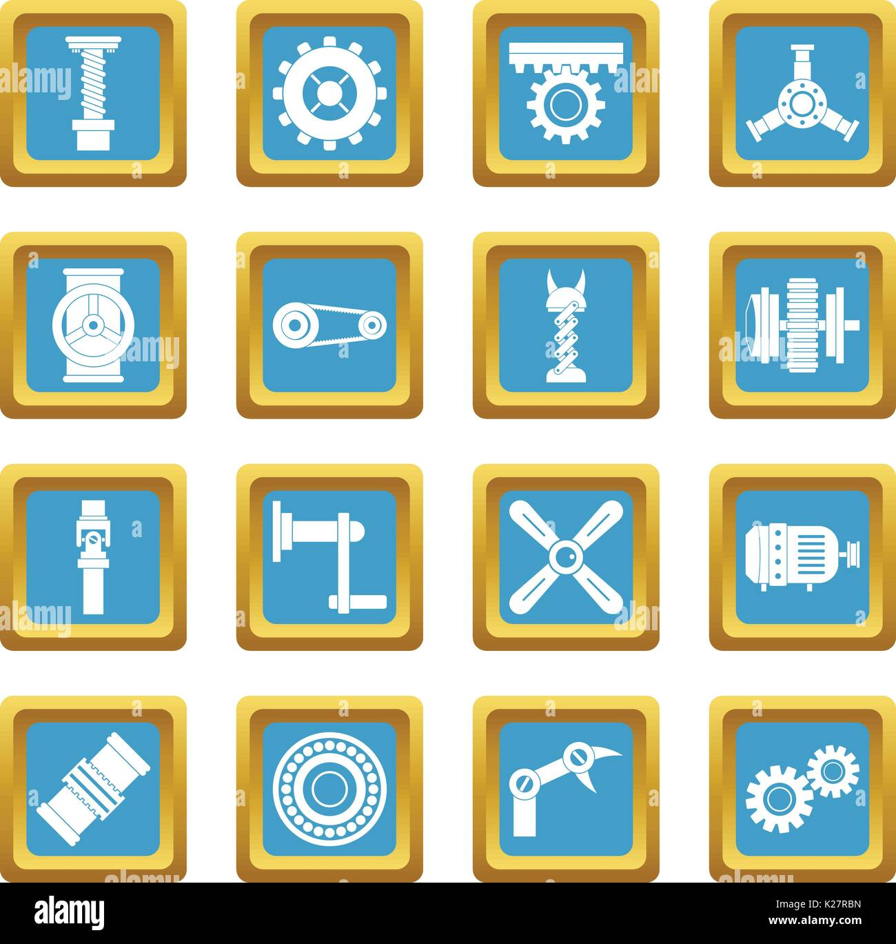 Techno mechanisms kit icons azure - Stock Image