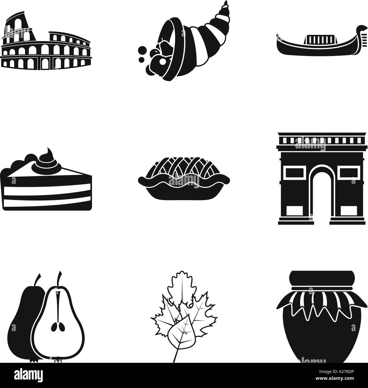 Moonshine icons set, simple style - Stock Image