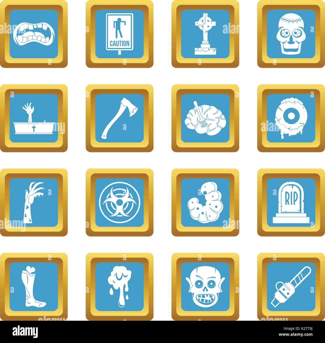 Zombie icons azure - Stock Vector