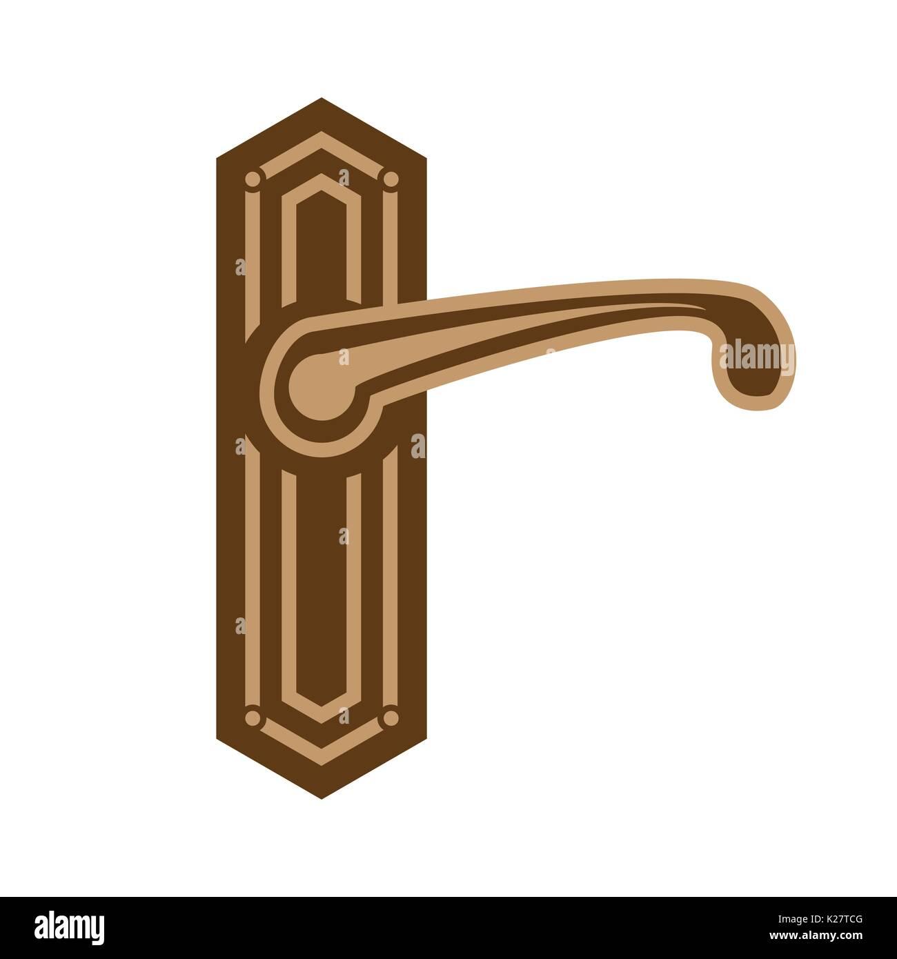 elegant door handle illustration, symbol design, isolated on white ...