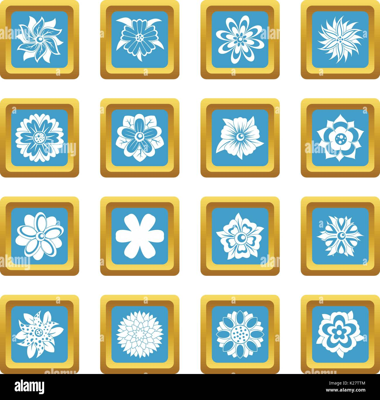 Different flowers icons azure - Stock Image
