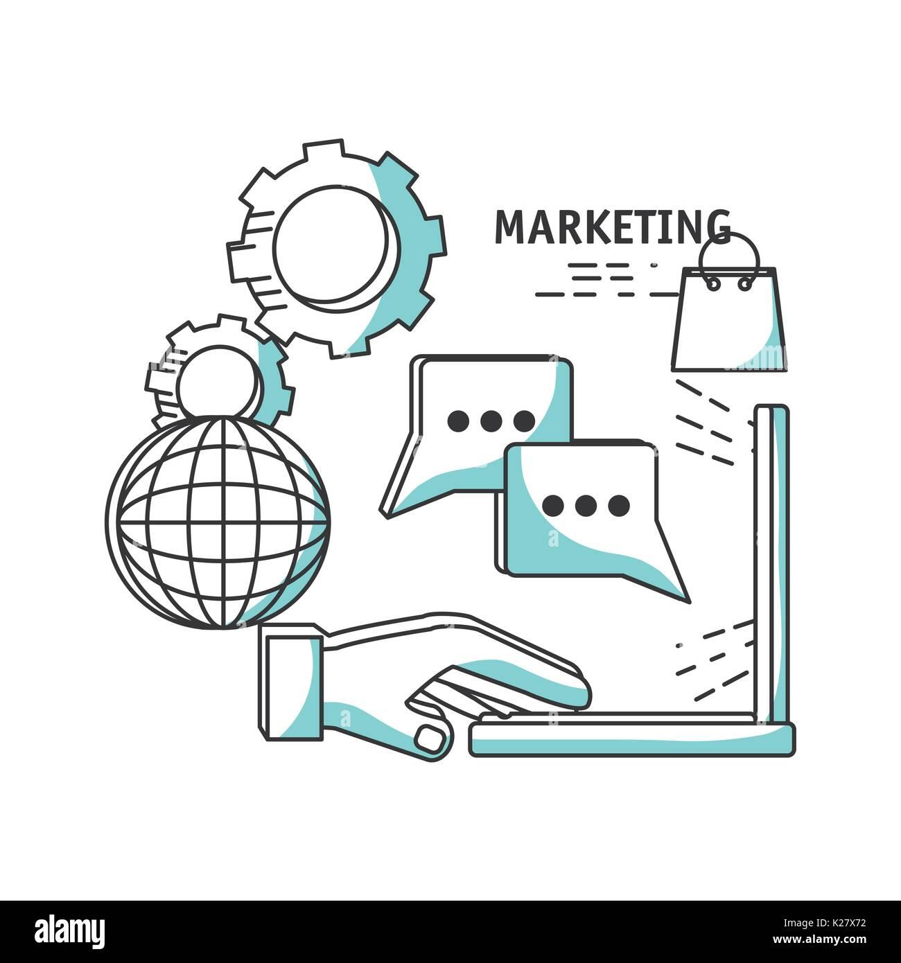 line digital marketing media planning vector illustration - Stock Image