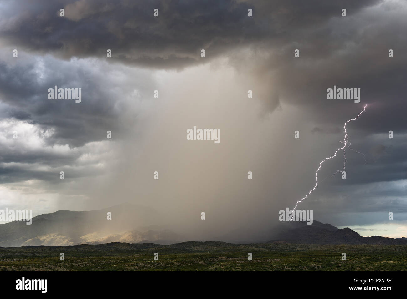 Thunderstorm with dark clouds, heavy rain and lightning over the Rincon Mountains near Tucson, Arizona - Stock Image