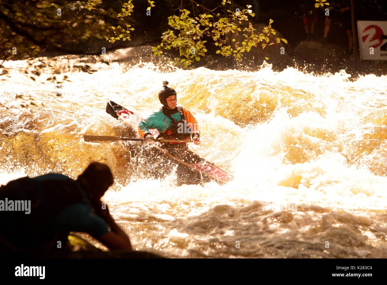 White water kayaking on river Vltava in Czech Republic. Devil´s Race 2017. - Stock Image