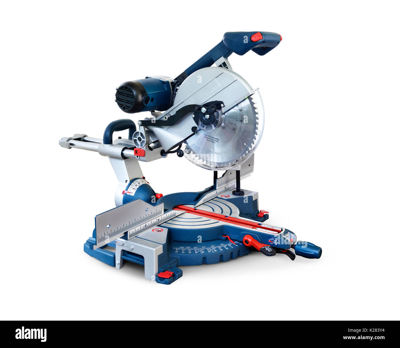 Miter saw, Mitre saw power tool isolated on white background with clipping path - Stock Image
