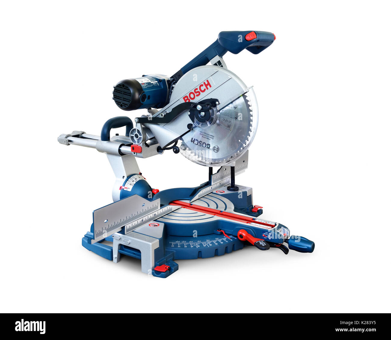 Bosch miter saw, mitre saw power tool isolated on white background with clipping path - Stock Image