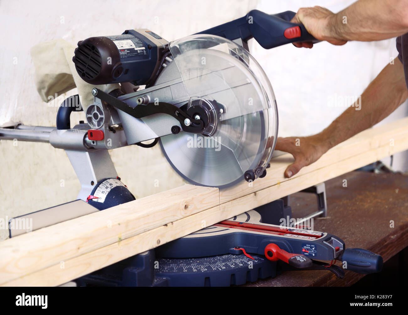 Closeup of hands of a person cutting wood lumber with a mitre saw, miter saw, circular blade. - Stock Image
